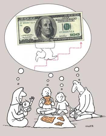 کاریکاتور افزایش قیمت دلار